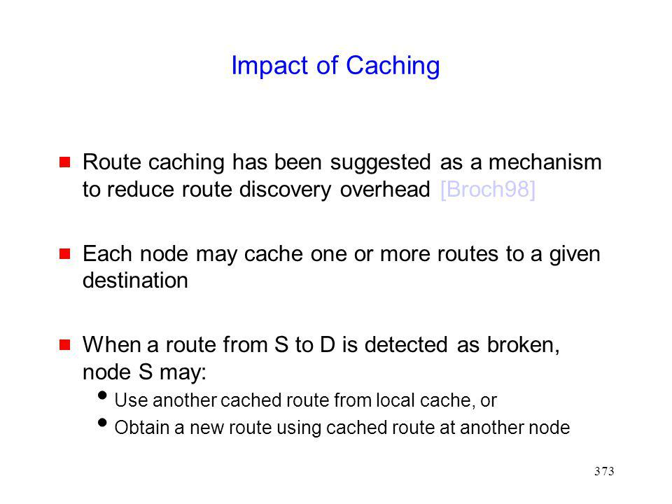 Impact of Caching Route caching has been suggested as a mechanism to reduce route discovery overhead [Broch98]